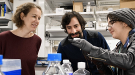 Eszter Posfai and Daniel Cohen with student in lab
